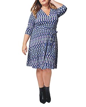 Striped Faux-Wrap Dress
