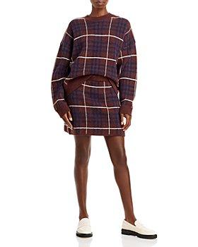 En Saison - Plaid Knit Sweater & Skirt