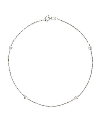 Bloomingdale's - Diamond Bezel Ankle Bracelet Set In 14K White Gold, .20 ct. t.w. - 100% Exclusive