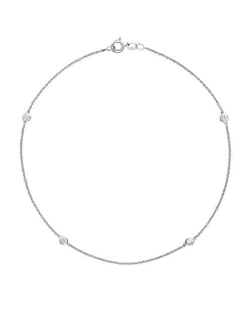 Bloomingdale S Diamond Bezel Ankle Bracelet Set In 14k White Gold 20 Ct