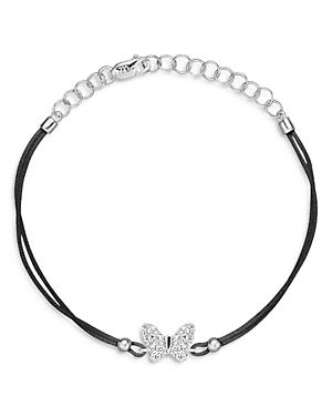 Meira T 14K White Gold Butterfly Diamond Rope Cord Bracelet