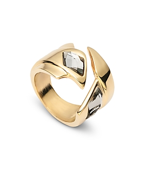 Uno de 50 Superstition Crystal Wide Bypass Ring
