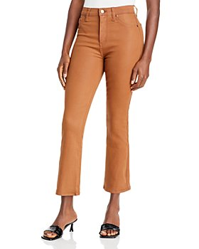 Pistola - Lennon Coated High Rise Cropped Bootcut Jeans in Medium Brown