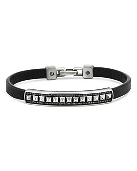 David Yurman - Sterling Silver Black Diamond Pavé Pyramid Leather Bracelet