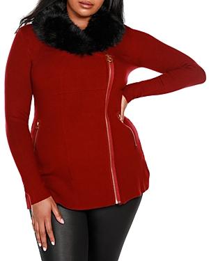 Faux-Fur Collared Asymmetric Coat