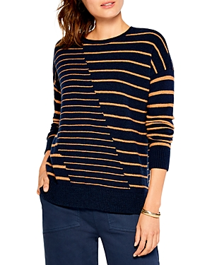 Nic And Zoe Nic+zoe Cozy Up Striped Sweater In Indigo Multi