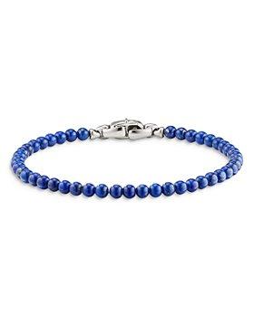 David Yurman - Men's Sterling Silver Spiritual Beads Lapis Bead Bracelet