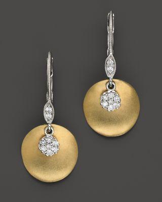 MEIRA T 14 Kt. Yellow Gold/Diamond Drop Earrings