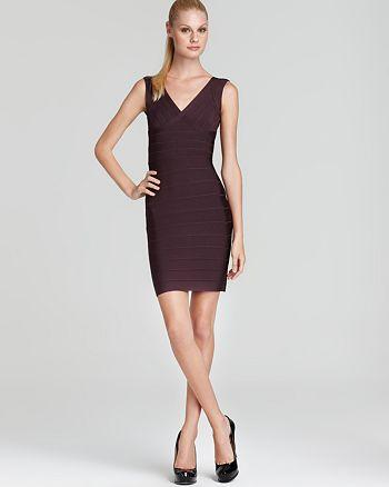 b52de90127c Herv eacute  L eacute ger - V Neck Cap Sleeve Short Bandage Dress