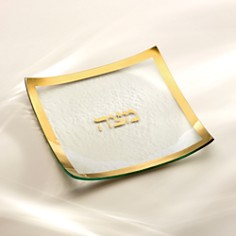 "Annieglass - ""Judaica Square Matza"" Plate, 10"""