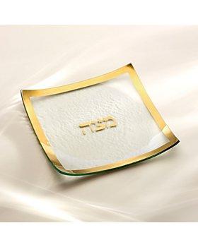 "Annieglass - Judaica Square Matza Plate, 10"""