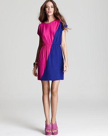 AQUA - Color Block Cinch Waist Dress - 100% Exclusive