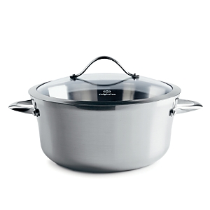 Contemporary Stainless Steel 6.5qt Covered Soup Pot