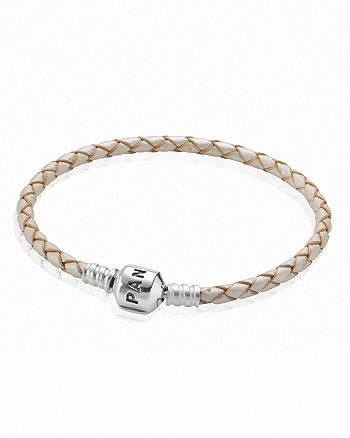 Pandora Bracelet Champagne Leather Double Wrap With Silver Clasp
