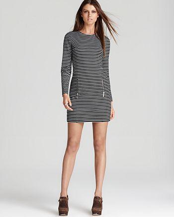 MICHAEL Michael Kors - Long Sleeve Stripe Dress with Double Side Zips
