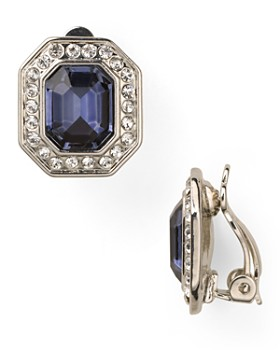 Carolee - Royal Blue Crystal Button Clip-On Earrings