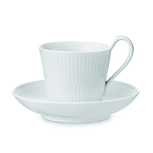 Royal Copenhagen White Fluted Plain Cup & Saucer