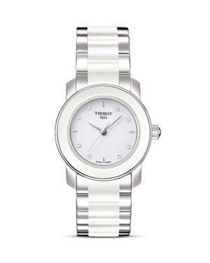 Tissot Cera Women's White Ceramic Watch With Diamonds, 28mm