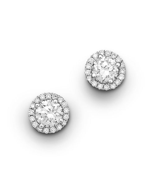 Bloomingdale S Halo Diamond Stud Earrings In 14k White Gold 50 Ct T W 100 Exclusive