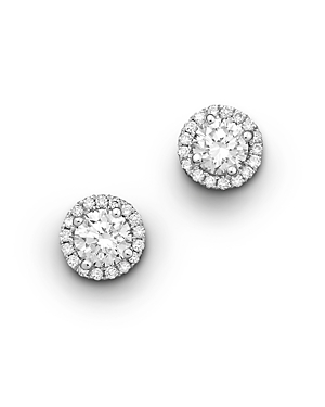 Halo Diamond Stud Earrings in 14K White Gold, 0.50 ct. t.w. - 100% Exclusive