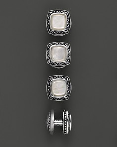 Scott Kay - Men's Sterling Silver Square Cufflink Set with Mother of Pearl