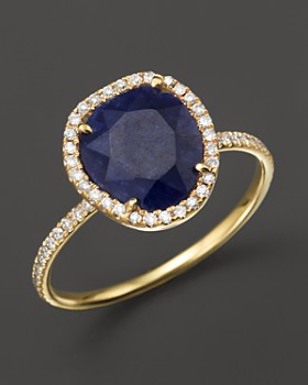 Meira T - 14K Yellow Gold Blue Sapphire Ring with Diamonds, .20 ct. t.w.