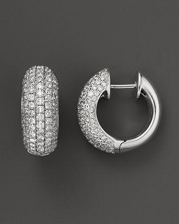 Diamond Pavé Huggie Earrings In 14k White Gold 1 50 Ct T W 100 Exclusive