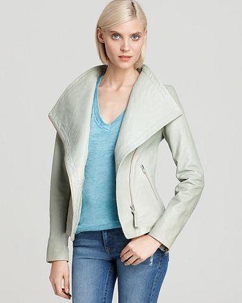 Mackage - Robbie Leather Asymmetric Zip Front Jacket