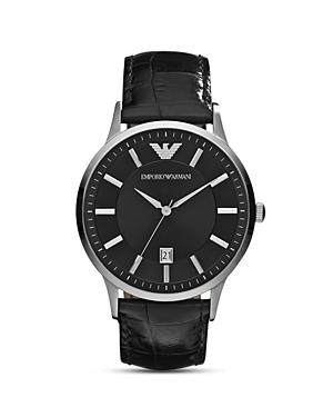 Emporio Armani Round Silver & Black Watch with Crocodile Embossed Strap, 43mm