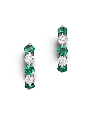 Emerald and Diamond Huggie Hoop Earrings in 14K White Gold - 100% Exclusive
