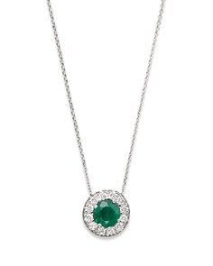 Bloomingdale's - Emerald and Diamond Pendant in 14K White Gold, .18 ct. t.w. - 100% Exclusive