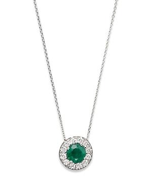 Emerald and Diamond Pendant in 14K White Gold - 100% Exclusive