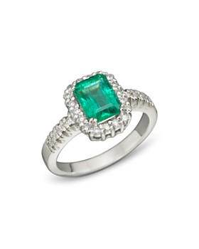 Bloomingdale's - Emerald and Diamond Ring in 14K White Gold, .35 ct. t.w.- 100% Exclusive
