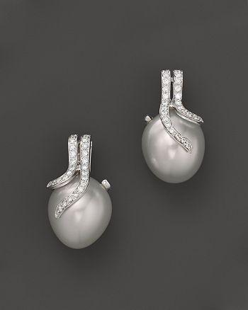 Tara Pearls - 14K White Gold, Diamond and White South Sea Cultured Pearl Drop Earrings, 12-14mm