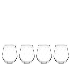 kate spade new york Larabee Dot Stemless Wine Glasses, Set of 4