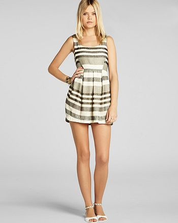 BCBGENERATION - Pleated Stripe Mini Dress