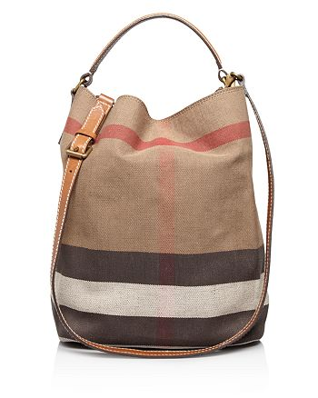49da8f9e2c3d92 Burberry Canvas Check Medium Ashby Hobo | Bloomingdale's