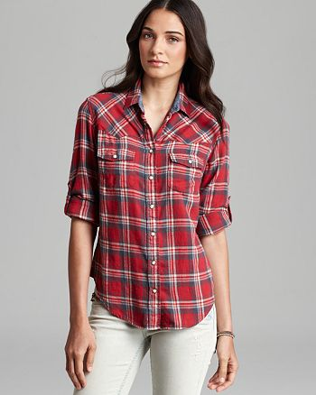JACHS Girlfriend - Bea Light Flannel Plaid Button-Down Shirt