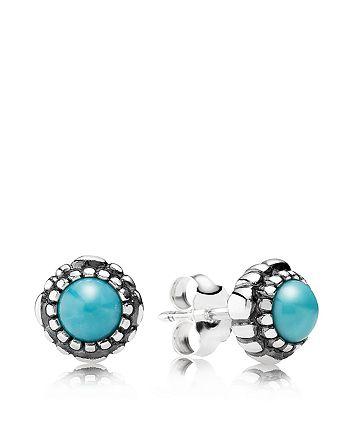 Pandora Sterling Silver Turquoise Birthday Blooms December Stud Earrings