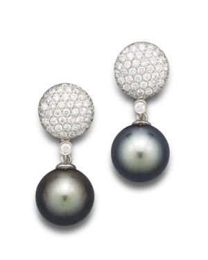 Cultured Tahitian Pearl and Diamond Drop Earrings in 14K White Gold, 11mm