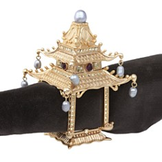 L'Objet - Gold Plated Pagoda Napkin Rings, Set of 2