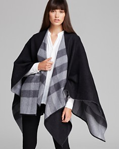 Burberry Charlotte Reversible Solid to Check Wool Cape - Bloomingdale's_0