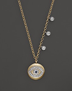 "Meira T Yellow Gold Evil Eye Necklace with Diamond Bezels, 16"" - Bloomingdale's_0"