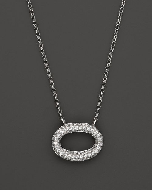 KC Designs - Pavé Diamond Oval Pendant in 14K White Gold, .25 ct. t.w.