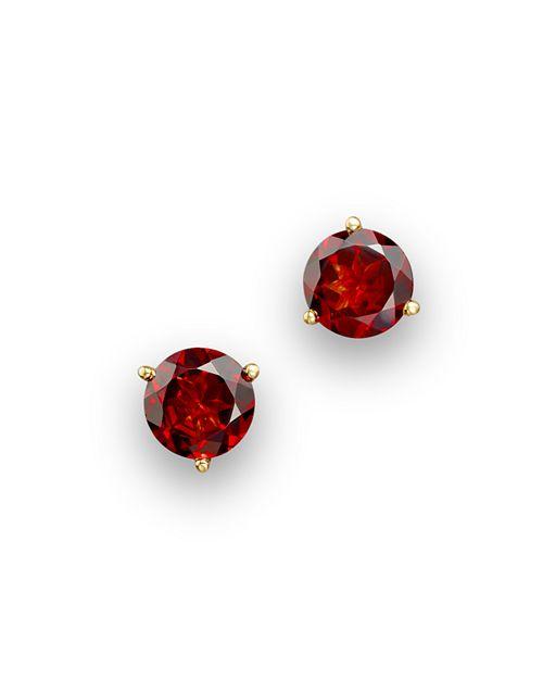 Bloomingdale's - Garnet Round Stud Earrings in 14K Yellow Gold- 100% Exclusive