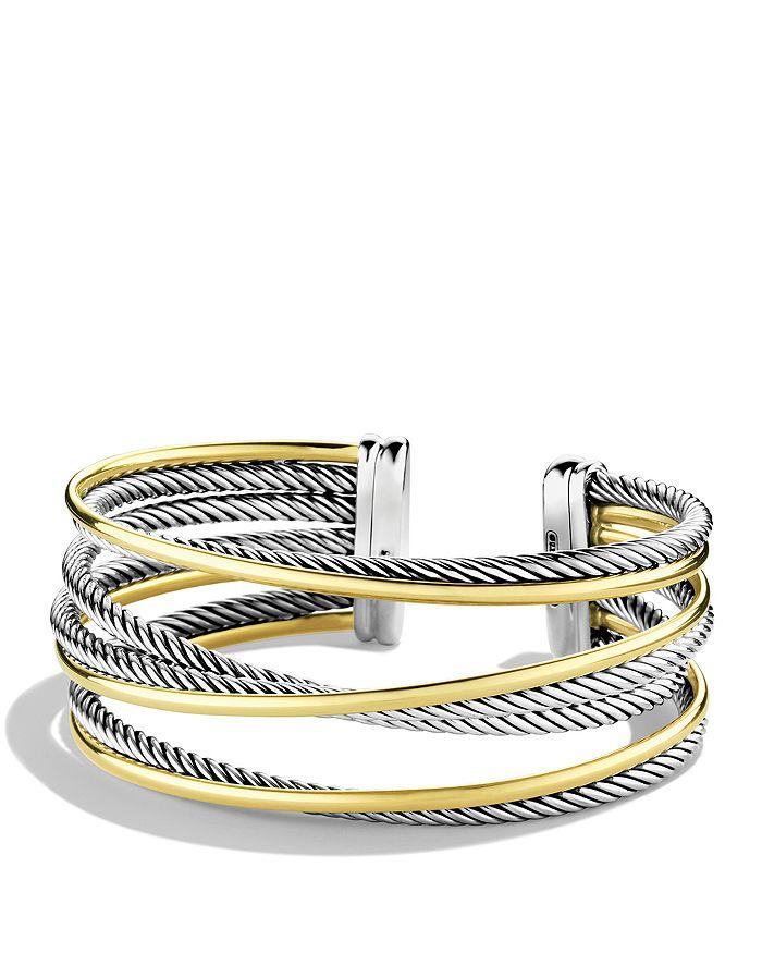 David Yurman - Crossover Four-Row Cuff with Gold