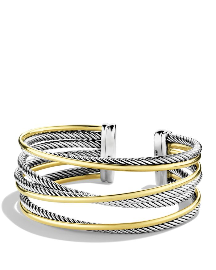 David Yurman Crossover Four-Row Cuff with Gold    Bloomingdale's