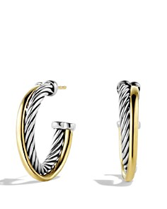 David Yurman - Crossover Small Hoop Earrings with Gold