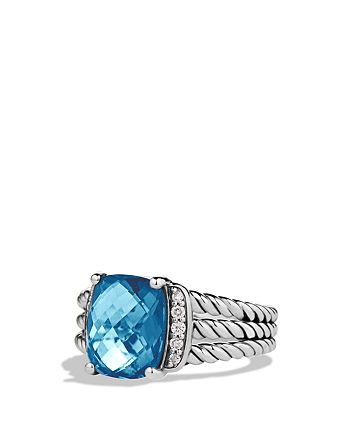 David Yurman - Petite Wheaton Ring with Hampton Blue Topaz and Diamonds