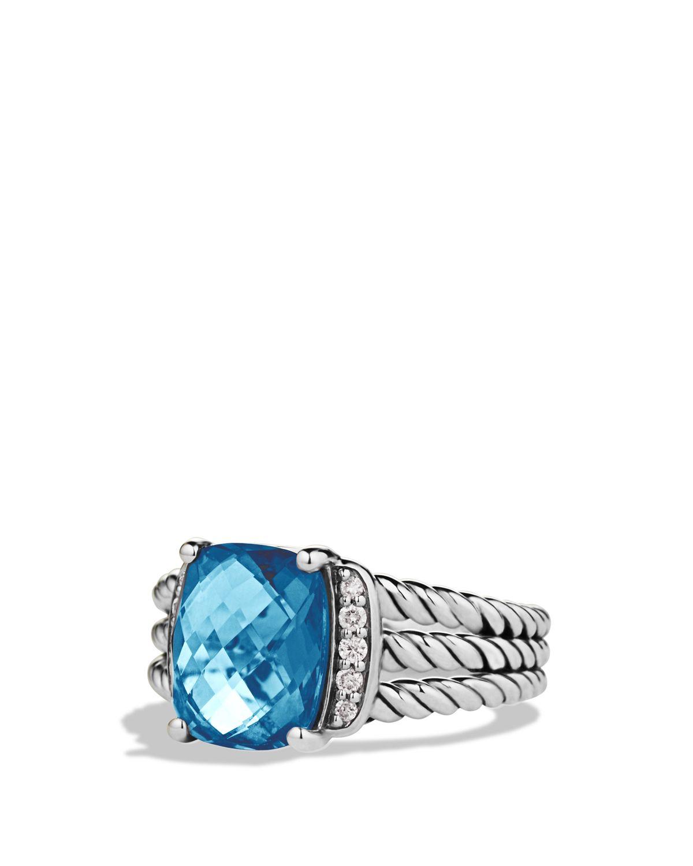 David Yurman Petite Wheaton Ring with Hampton Blue Topaz and Diamonds BSf8lqwQiA